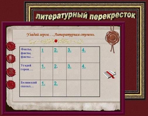 Литературный перекрёсток предполагает право выбора категории вопросов.Команда,пришедшая на этот этап первой получает преимущество в выборе.