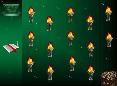 Блок впросов-заданий.Лёгкое потрескивание факелов,мистический огонь...всё располагает к встрече с тайной...